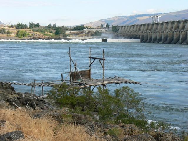 Fishing Platform and Dam at Celilo Falls