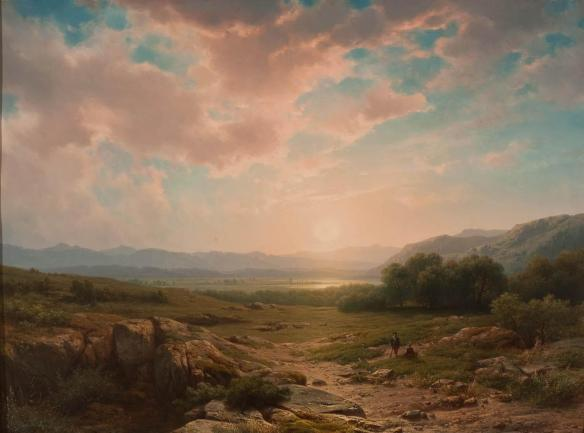 Cornelis_Lieste_-_Landschap_met_eenzaam_koppel_bij_zonsondergang